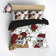 33 plush sugar skull duvet cover day of the dead rose and bedding sets ink rags king size