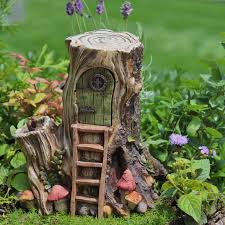- Miniature Hollow wood Hut Tree Stump Fairy House with Hinged Door #FGHW