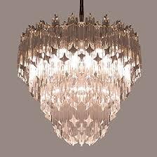 1970s murano venini crystal chandelier light fixture