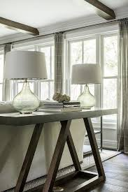 dark brown sofa table with gray glass lamps