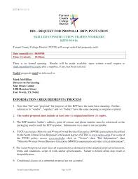 Template Request For Proposal Rfp Template Invitation Letter Sample