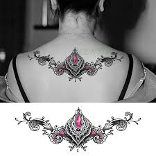 водостойкая временная татуировка наклейка красный драгоценный камень лотос на