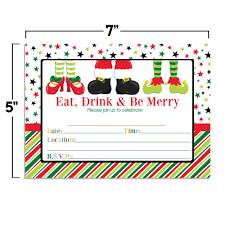 Christmas Holiday Invitations Eat Drink Be Merry Santa Elf Feet Christmas Party Invitations