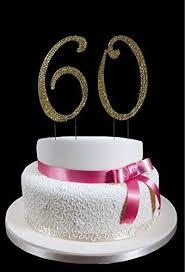 Amazoncom Large Gold 60th Birthday Wedding Anniversary Number Cake