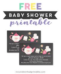 Tea Party Free Printables Free Printable Baby Shower Chalkboard Tea Party Insert