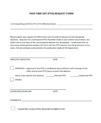 Paid Time Off Form Template Request Off Form Omtimes Co