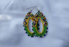Beaded Hoop Earrings Clip On or Pierced <b>Wood</b> Bead Coconut ...