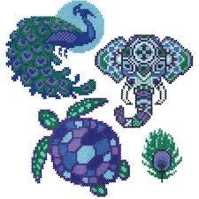Mini Perler Bead Patterns Custom Mini Beads Peacock Elephant And Turtle