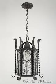 6 sided wrought iron lantern with textured glass panels circa 1930s