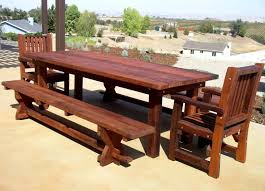 image of rustic picnic tables for kids