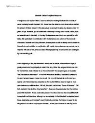 writing a response essay macbeth critical response essay  macbeth critical response essay international baccalaureate page 1 ideas of example