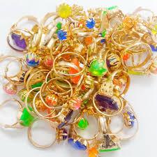 Vending Machine Filler Beauteous 48pcs Metal Gold Girl Gem RINGS VENDING MACHINE TOYS Pinata Bag