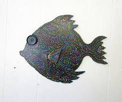the best fun whimsy metal painted fish wall or outdoor art decor beach image for tropical on whimsical metal fish wall art with inspiring mahi in metal fish wall sculpture beach tropical of art