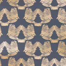 Behang Birds Donkerblauw Goud Papier 53x1000cm Wonenmetlefnl