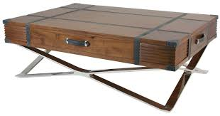 square coffee table in walnut and brown