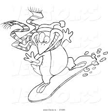 Vector of a Cartoon Snowboarding Penguin - Coloring Page Outline ...