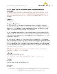 Letter To Board Of Directors Sample Volunteer Board Member Marketing Expertise