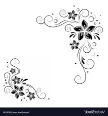 Corner Design Floral Corner Design Ornament Black Flowers On Vector