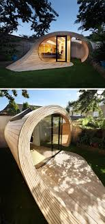 prefab backyard office. This Sculptural Backyard Structure Is Made From Wood Panels That Curve Around Each Other To Create A Office As Well Storage Space For Extra Prefab M