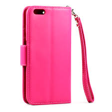 whole iphone 6 plus 5 5 folio flip leather wallet case with strap hot pink