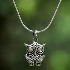 sterling silver owl pendant necklace from thailand owl companion