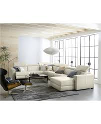 furniture nevio 6 pc leather l shaped sectional sofa with 3 power recliners