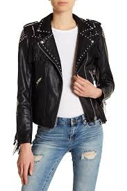 image of blanknyc denim studded fringe faux leather jacket