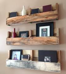 ... Wall Shelves Made From Pallets Short Iron Holder Strong Wooden Material  Square Brown Stayed Rack Classic ...