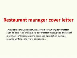 Restaurant Manager Resume Cover Letter Also Restaurant Manager Cover