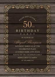 50th Birthday Invitations Templates Fancy Wood 50th Birthday Invitations Rustic Country