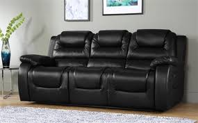 black leather reclining sofa. Vancouver 3 Seater Leather Recliner Sofa (Black) Black Reclining P
