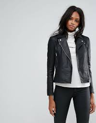 y a s black sophie soft leather biker jacket lyst view fullscreen