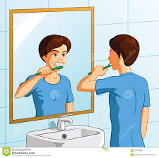 child looking in mirror clipart. royalty-free vector child looking in mirror clipart