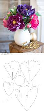 Peony Paper Flower Free Paper Peony Template Paper Flowers Paper Flower