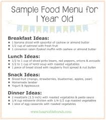 1 Year Old Baby Food Chart Sample Menu For One Year Old What Your Child Should Eat At