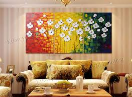 3 panels handpainted canvas wall art abstract painting modern acrylic flowers palette knife oil painting home decoration in painting calligraphy from home