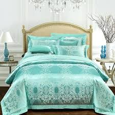 aqua green bedding set luxury girls jacquard bedspreads satin duvet covers sheets bed in a bagaqua