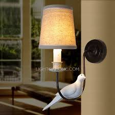 Small Picture Wall Lights UK With Bird Fabric Shade Bedroom
