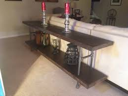 Sofa Table Diy Diy Sofa Table From Black Plumbing Pipe Plywood 1x6s Our