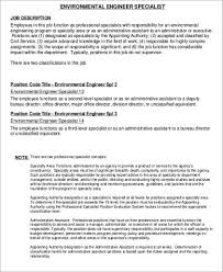 Environmental Engineer Job Description Sample - 6+ Examples in ...