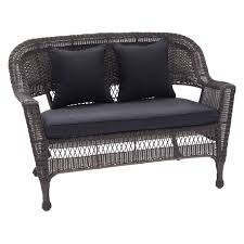 jeco wicker patio loveseat with cushion