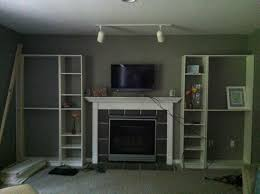 faux built billy bookcase ikea hearthavenhome img around fireplace audio speakers shaped study table black