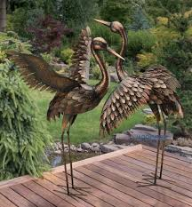 large bronze patina flying crane sculpture heron bird metal statue yard art 41
