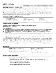 Logistics Coordinator Resume Sample Resumes Misc