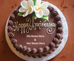 Pristine Wedding Cake Happy Anniversary Wishes Couple Name Cake