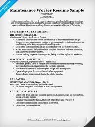 maintenance worker sample. Resume Companion Sample
