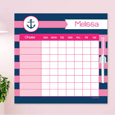 Chore Lists For Teens Lets Sail Pink Chore Chart
