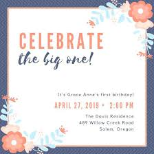 1st Bday Invitation Card Orange Flowers Birthday Invitation 1st