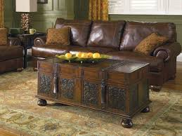 amazing trunk coffee table with unique centerpiece idea feat chocolate leather sofa design plus large living room rug