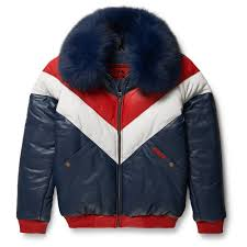 goose country leather v er jacket red white blue with blue fox fur trade me